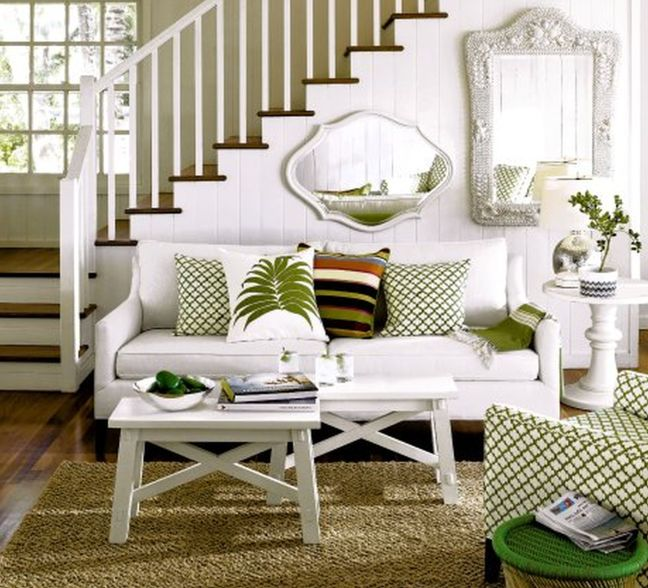 Breathtaking-living-room-decoration-with-tropical-green-theme-and-white-luxury-furnitures